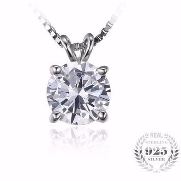Classic Round 1ct cz 925 Sterling Silver Jewelry Solitaire Pendant Necklace 18 Chain