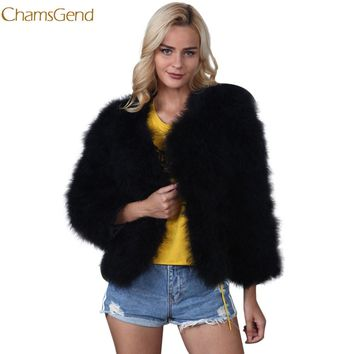 Chamsgend Faux Fur Coat Women Faux Fur Ostrich Feather Soft overcoat Fur Coat Jacket Fluffy Winter Xmax l0111