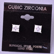 Classic Princess Cubic Zirconia Surgical Steel Studs - Crystal