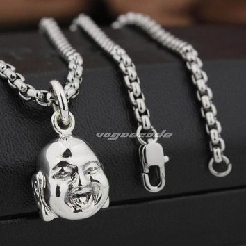 Tiny Happy Buddha Head 925 Sterling Silver Charms Pendant