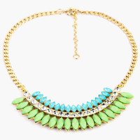 Blue and Green Stone Layer Collar Necklace