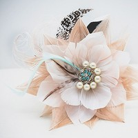 Custom made to order - SIREN - Peacock Flower Bridal Hair Fascinator