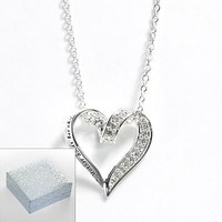 Silver Plated Cubic Zirconia Mother Heart Pendant