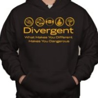 Divergent What Makes You Different Makes You Dangerous Factions Dauntless Amity Erudite Candor Abnegation Pullover Hoodie Sweater (Small, Black w/ Gold)