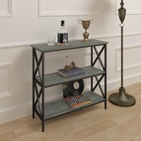 Weathered Grey Oak Finish 3-Tier Metal X-Design Bookcase Bookshelf Console Sofa Table
