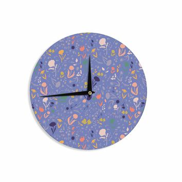 "Akwaflorell ""Pretty Little Flowers2"" Blue Lavender Vector Wall Clock"