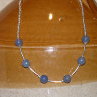 Necklace Blue Aventurine and silver Seed Beads, Handcrafted, Ooak