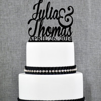 Wedding Cake Toppers with First Names and DATE, Unique Personalized Cake Toppers, Elegant Custom Mr and Mrs Wedding Cake Toppers - (S002)