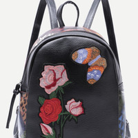 Butterfly & Rose Patchwork Black Backpack Multicolored- Small