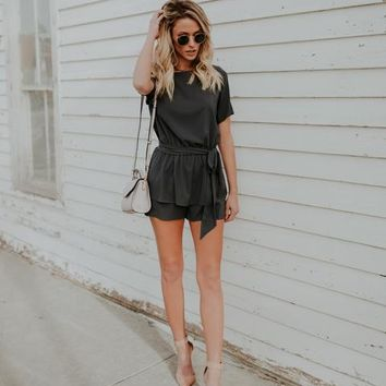 For Keeps Tie Romper - Charcoal