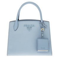 Prada Women's Monochrome Saffiano Leather Bag Blue