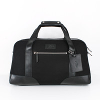 Black Leather-Trimmed Canvas Holdall