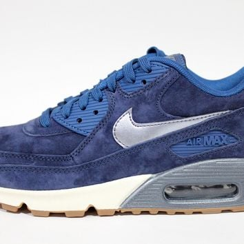 Nike Women's Air Max 90 PRM Suede Navy Blue Running Shoes 818598 400