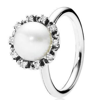 Authentic Pandora Jewelry - Everlasting Grace Ring White Pearl