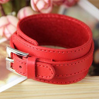 Red fashion Adjustable leather Woven Bracelets mens by sevenvsxiao