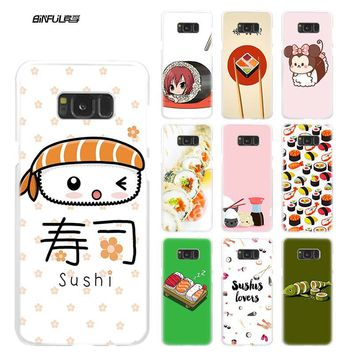 BiNFUL kawaii sushi Clear Case Cover Coque Shell for Samsung Galaxy S4 S5 Mini S6 S7 Edge S8 S9 Plus