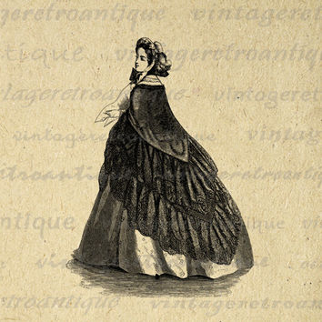 Digital Image Classic Old Fashioned Woman Printable Antique Dress Lady Download Graphic Vintage Clip Art for Transfers etc HQ 300dpi No.2820