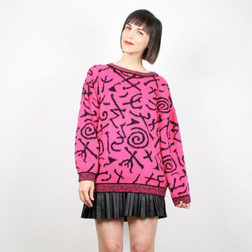 Vintage ESPRIT Sweater 1980s 80s Sweater Hot Pink Black Abstract Print Cosby Sweater New Wave Pullover Jumper Oversize Knit L XL Extra Large