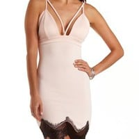 Strappy Plunging Lace-Trim Dress by Charlotte Russe - Blush