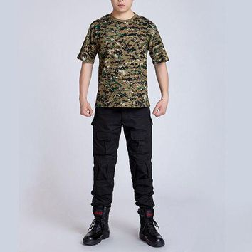 PEAPFS2 Summer Outdoors Hunting Camouflage T-shirt Men Breathable Combat T Shirt Dry Sport Camo Outdoor Camp Tees JD