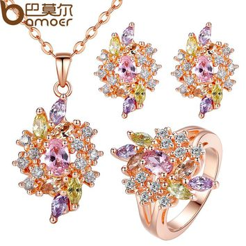 Luxury Gold Color Engagement Jewelry Sets with AAA Colorful Cubic Zircon for Women Bridal Jewelry