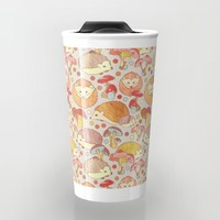 Woodland Hedgehogs - a pattern in soft neutrals Travel Mug by Perrin Le Feuvre | Society6