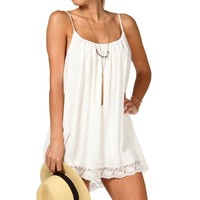 Sale-ivory Sleeveless Crochet Tunic