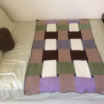 Handmade Crochet Afghan for your bed, couch, chair, adult blanket, lap, stripe, ripple,Cozy, blanket, baby