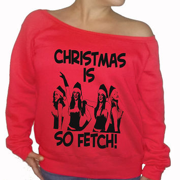 fleece lined christmas ugly shoulder sweater mean girls ugly ch