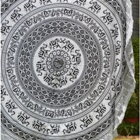 Indian Elephant Round Tapestry Beach Towel Black & White