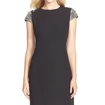 Women's Eliza J Embellished Sleeve Crepe Shift Dress,