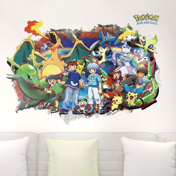 3D Look Wall Vinyl Sticker Pokemon Go Decorative Childrens Bedroom Mural  Kids Nursery Decor DIY Home Decal Wallpaper