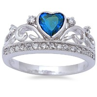 BLUE Cubic Zirconia Heart Shaped .925 Sterling Silver Ring SIZES 8