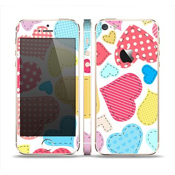 The Fun Colored Heart Patches Skin Set for the Apple iPhone 5s