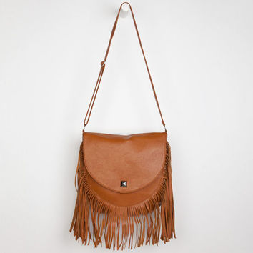 Deb & Dave Flap Over Fringe Crossbody Bag Cognac One Size For Women 24130640901