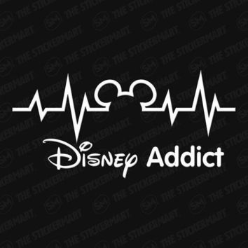 Mickey Mouse Disney Addict Heartbeat Vinyl Window Decal Sticker