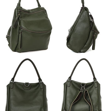 Leraje Convertible Backpack | Shoulder bag - khaki, made of  rich shrunken leather. wear it as a backpack or shoulder bag
