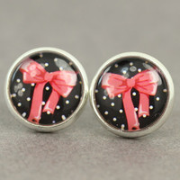 Fake Plugs : Pink Bow Stud Earrings, Fake Plugs, Cabochon, Flat Back, Vintage, Victoria, Pink, Polka Dot, Black and White, ArtisanTree