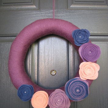 Door Wreath - Yarn Wreath - Wreath with purple yarn and beautiful pink, purple, and blue felt flowers