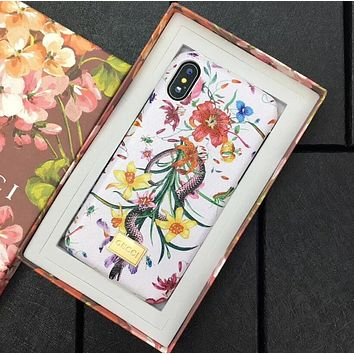 GUCCI New Trending Snake Flower Pattern Mobile Phone Case iphone 6 6plus iphone 7 7plus iphone 8 8plus iphone X Protective Case White I12484-16