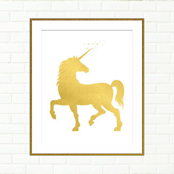 Unicorn Illustration, Printable Wall Art, Baby Girl Nursery Print, Children, Gold Foil Art, Gold Glitter, DIGITAL DOWNLOAD, Fairytale, Magic