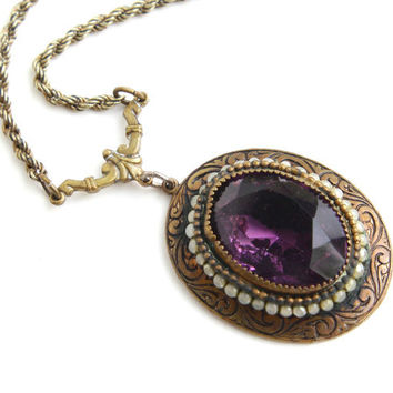 Antique Purple Glass Stone & Pearl Necklace - Art Deco Brass Filigree Costume Jewelry / Amethyst Purple Pendant