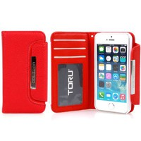 iPhone 5S Case, TORU® [Red] iPhone 5S Clutch Wallet Case [Clutch] [Detachable Hard Case] with Credit Card Slots / ID Window / Cash Pocket - PU Leather Flip Cover Folio Wallet Case - Verizon, AT&T, Sprint, T-Mobile, International, and Unlocked - Case for iP