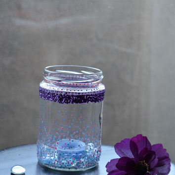 3D Paint- Glass Vase- Food Jar- Polka Dots Design- Home Gift