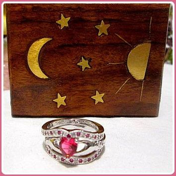Wealth & Passion Ruby Ring 3pc Set