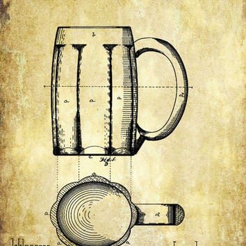 Beer Stein Patent Print - Patent Poster - Beer Mug - Stein Patent - Faux Vintage