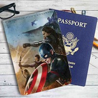 Captain America Team Civil War Marvel Leather Passport Wallet Case Cover
