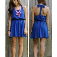 Bows Back Dress in Royal