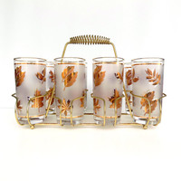 Mid Century Bar Set Libbey Golden Foliage 9 Piece Caddy Beverage Set - 1950s Frosted Tumblers Perfect for Summer Parties