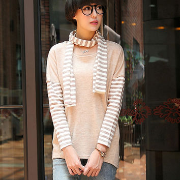 Long Sleeve Sweater with Scarf